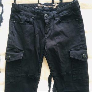 Seven7 Black Skinny Cargo Jeans
